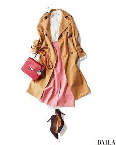 アフター6にデートや合コンの予定がある日は、顔映えする白トップスに華やかかつ女らしいピンクのスカートで、好印象を狙って! 今季らしい長めタイトスカートは、スリットがあるものを選ぶとこなれたムードに。ちらっと足もとがのぞくのも、セクシーで男性ウケします。コートやパンンプスはベーシッ・・・