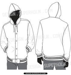 Hooded varsity jacket template vector set