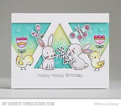 Stamps: Beautiful Day, Hoppy Friends Die-namics: Beautiful Day, Hoppy Friends, Triangle STAX Melania Deasy #mftstamps