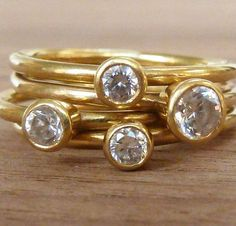 18ct  gold stacking engagement rings,cubic zirconia diamond alternative, April birthstone.
