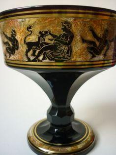 HAIDA-MOSER-VASE-Bohemian-Czech-enameled-glass-signed-Theodor-Bienert