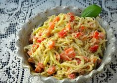 Raw Zucchini and Kelp Noodles with Creamy Basil Apricot Sauce