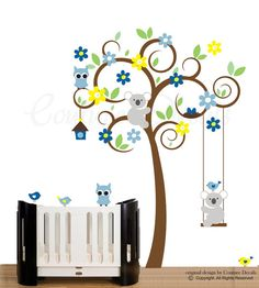 Wall decal nursery tree wall art decal for baby by couturedecals