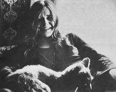Janis Joplin and cat.