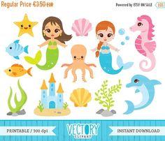 HALLOWEEN SALE 40% OFF 15 Mermaid Clip Art Sea Clipart Under the Sea Clipart Mermaid Clipart Set Ocean Clipart Octopus Dolphin Seahor (2.10 EUR) by VectoryClipart