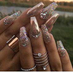 50 Gel Nails Designs That Are All Your Fingertips Need To Steal The Show Gold crome nails glitter and rhinestones Glittery Nails, Fancy Nails, Bling Nails, Glam Nails, Gold Acrylic Nails, Gold Coffin Nails, Stiletto Nails, Gold Tip Nails, Matte Nails