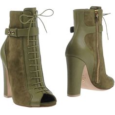 Elie Saab Ankle Boots ($660) ❤ liked on Polyvore featuring shoes, boots, ankle booties, military green, short leather boots, leather ankle booties, leather bootie, open toe booties and short boots