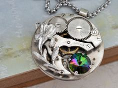 steampunk jewelry necklace LOVE TAKES TIME steam by junesnight,