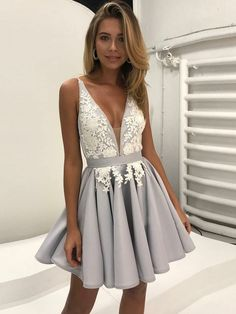 Elegant A-Line Deep V-Neck Backless Short Homecoming Dress With Lace on Luulla