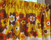 70s Bold Floral Curtain Valance 56 x 16 New Construction