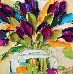 "Daily Paintworks - ""Magenta Tulips"" - Original Fine Art for Sale - © Jan Ironside"