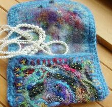 needle felted jewelry pouch
