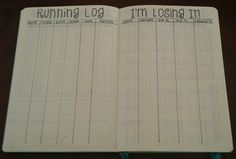 Running log and weight-loss trackers in my bullet journal.