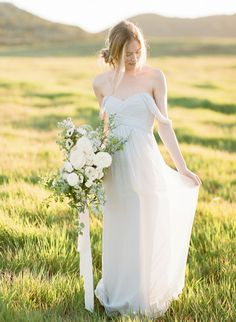 Pale gray off-the-shoulder wedding dress