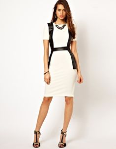 'Vesper Pencil Dress with Faux Leather Trim'-this is even greaterrrrrrr