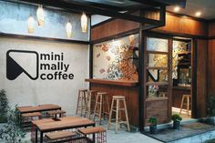 Outstanding DIY Coffee Bar Ideas for Your Cozy Home / Coffee Shop Small Coffee Shop, Coffee Store, Coffee Shop Design, Cafe Design, House Design, Book Design, Cozy Coffee Shop, Coffee Set, Black Coffee