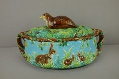 GEORGE JONES majolica large size quail game dish with quail atop bed of ferns on cover, base decorated with rabbits in ferns, great color and detail,