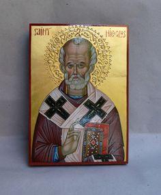 St. Nicholas, hand painted orthodox icon, Byzantine icon, orthodox icon, iconart, orthodox gift, iconography, Greek, Russian icon