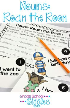 Roam the Room: Nouns is a great way to make learning about nouns fun for your students by getting them up and moving while they practice identifying nouns.
