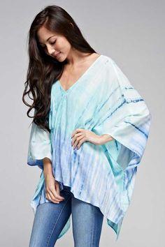 Love Stitch Tie Dye Poncho Shirt for Women