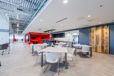 Clockwork Architecture+Design has designed the new headquarters of construction company Scott Long Construction, located in Chantilly, Virginia. Architecture Office, Architecture Design, Trinity House, Cafe Seating, Office Lounge, Workplace Design, Office Interiors, Office Decor, Construction