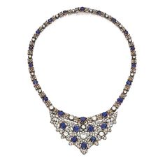 Gold, Silver, Sapphire and Diamond Necklace, Buccellati The highly flexible necklace set with round and cushion-cut sapphires weighing 17.50 carats, the bib centered by an old European-cut diamond weighing 1.20 carats, further set with numerous round, rose, single and old European-cut diamonds weighing 11.00 carats.