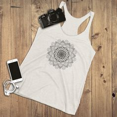 It's a mandala. Find inner peace and get creative as you ponder on the meaning of this decorative artwork! If it just looks pretty. It's still an awesome tank top! Graphic Tank Tops, Yoga Tank Tops, Inner Peace, How To Look Pretty, Passion For Fashion, Mandala, Summer Outfits, Rock, Awesome