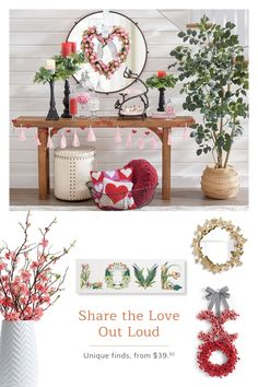 Share the love this Valentine's Day with exclusive decor from Grandin Road. Valentine Day Love, Valentine Day Crafts, Valentine Tree, Valentines Day Decorations, Halloween Decorations, Table Decorations, Winter Home Decor, Fall Decor, Sofa Table Decor