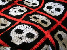 crochet skull blanket. PHOTO ONLY.  BUT...I have this pattern in my Happy Hooked Crochet Book.