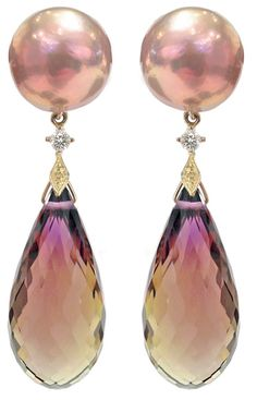 Maurasaki Pearl and Ametrine Drop Earrings: Luscious! One-of-a-Kind Ametrine Drop Earrings with Maurasaki pearls, diamonds, and yellow gold accents. Gems Jewelry, Pearl Jewelry, Jewelry Accessories, Fine Jewelry, Jewelry Design, Jewlery, Garnet Jewelry, Pearl Drop Earrings, Dangle Earrings
