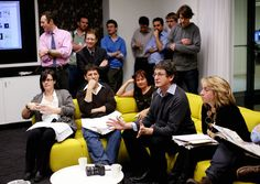 Alan Rusbridger leads the Guardian's first morning conference in the new building