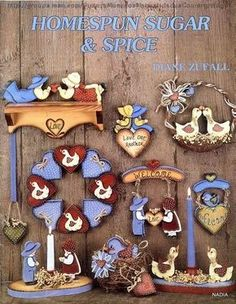Homespun Sugar and spice - Nadieshda N - Picasa Web Albums Painting Words, Tole Painting, Fabric Painting, Pintura Country, Book Crafts, Craft Books, Paper Crafts, Painting Patterns, Craft Patterns