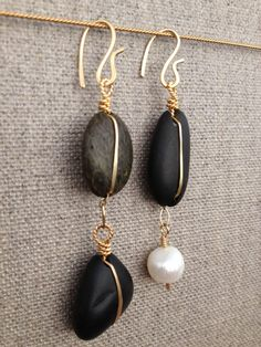 Bellingham Black Jade Beach Stone Earrings by ChelseaJepsonArts, $87.00.  www.chelseajepson.com