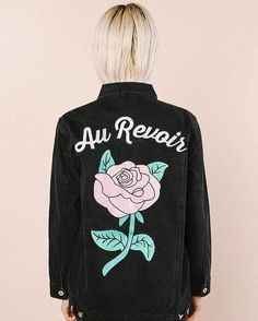The Au Revoir  Denim Jacket   With an embroidered rose  Valfre.com | #valfre