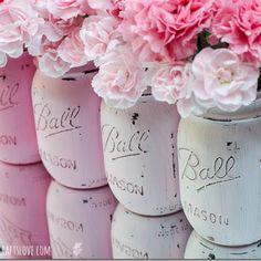 Painted Mason Jars: Pink