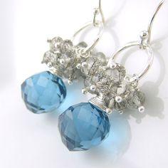 ~ Gemstone Cluster Earrings ~ London Blue Quartz, Black Tourmalinated Quartz and Sterling Silver ~