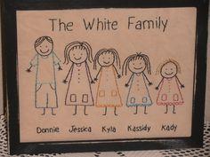 Primitive Stitchery Sampler, Stick People Family, Personalized, Rustic, Country Home Decor, Family Stitchery,  Cabin Decor,