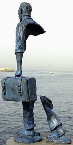 Bruno Catalano's Half Sculptured Travelers | Amusing Planet. French artist born 1960.
