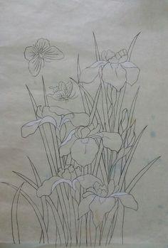 좋은소식,신비로운 사람이라는 꽃 말을 지닌 붓꽃을 민화로 그려본다. 본뜨기후 초벌 채색하다 나비 두마리...