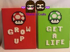 Get A Life/ Grow Up Canvas Mario Mushroom Themed Perler Beads by ThaliasCrafts Perler Beads, Perler Bead Mario, Fuse Beads, Mario Crafts, Geek Crafts, Hama Beads Patterns, Beading Patterns, Beaded Cross Stitch, Cross Stitch Patterns