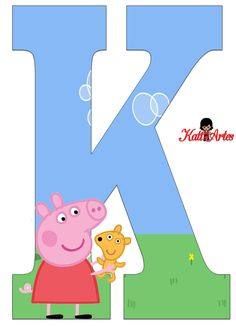 Alfabeto de Peppa Pig y Perrito 2. - Oh my Alfabetos! Peppa Pig Birthday Decorations, Rena, Letters For Kids, Pig Party, This Little Piggy, Alphabet And Numbers, Baby Birthday, Birthday Parties, Party Time