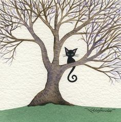 Watercolor art of a black cat in a tree