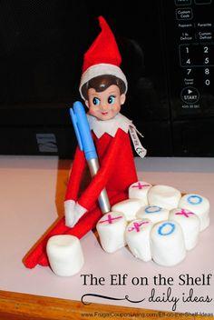 Elf on the Shelf Ideas | Tic-Tac-Elf and Dozens of Daily Elf on the Shelf IDeas - funny ideas, easy night ideas and more!