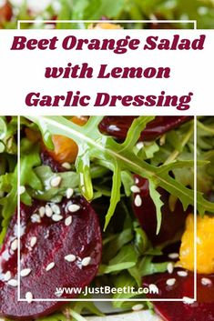 Tangy arugula, sweet orange, and earthy roasted beet create a delicious blend of flavors in this vibrantly nutritious salad. Beet Salad With Feta, Roasted Beet Salad, Beet Salad Recipes, Orange Salad, Salad Dressing Recipes, Healthy Recipes, Frugal Recipes, Salad Dressings, Smoothie Recipes