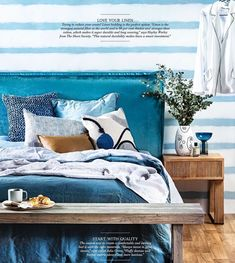 Who's dreaming of waking up here tomorrow morning? Sublime spring time styling by Sami Simper for Home Beautiful with our Rupert bedhead in Ellison velvet. King Beds, Queen Beds, King Single Bed, Vogue Living, Upholstered Beds, Bed Head, Double Beds, How To Make Bed, Apartment Interior
