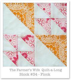 Farmer& Wife Quilt-a-Long - Block 34 Big Block Quilts, Small Quilts, Mini Quilts, Quilt Blocks, Scrappy Quilts, Baby Quilts, Quilt Square Patterns, Pattern Blocks, Square Quilt