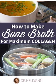 Make your bone broth recipe to get the right amount of collagen for gut health, . - Make your bone broth recipe to get the right amount of collagen for gut health, skin, hair, and nai - Making Bone Broth, Bone Broth Soup, Bone Broth Crockpot, Bone Marrow Broth, Instapot Bone Broth, What Is Bone Broth, Slow Cooker Bone Broth, Soup Recipes, Cooking Recipes
