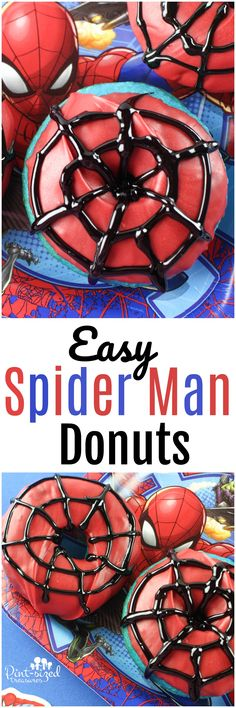 Super simple Spider Man donuts that are baked from a cake mix and topped with colors that actually taste good! Bright blues, reds and deep dark black create the perfect, super-fun Spider Man donuts that all Spider Man fans will love!