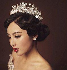 JESMING® Bridal Headdress Soft High-End Handmade Crystal Stylish Shining Rhinestone Crown Headband Tiara - Brought to you by Avarsha.com