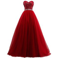 Amazon.com: Lowime Women's Ball Gown Tulle Quinceanera Dresses 2017... ($96) ❤ liked on Polyvore featuring dresses, gowns, red prom dresses, tulle dress, red quinceanera dresses, red tulle dress and red prom gowns